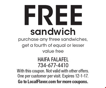 FREE sandwich. Purchase any three sandwiches, get a fourth of equal or lesser value free. With this coupon. Not valid with other offers. One per customer per visit. Expires 12-1-17. Go to LocalFlavor.com for more coupons.