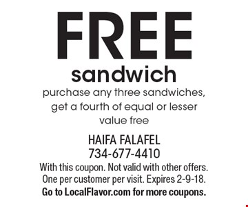 FREE sandwich purchase any three sandwiches, get a fourth of equal or lesser value free. With this coupon. Not valid with other offers. One per customer per visit. Expires 2-9-18. Go to LocalFlavor.com for more coupons.