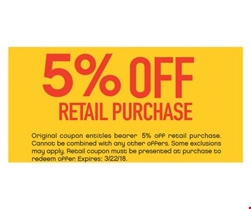 5% OFF retail purchase