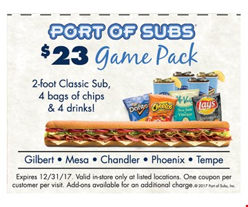 $23 Game Pack, 2-foot Classic Sub, 4 bags of chips & 4 drinks!