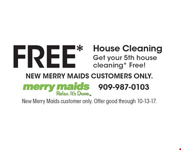 Free* house cleaning. Get your 5th house cleaning* Free! New Merry Maids customers only. New Merry Maids customer only. Offer good through 10-13-17.