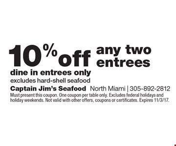 10% off any two entrees dine in entrees only excludes hard-shell seafood. Must present this coupon. One coupon per table only. Excludes federal holidays and holiday weekends. Not valid with other offers, coupons or certificates. Expires 11/3/17.