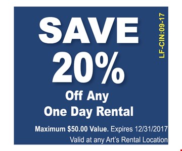 SAVE 20% OFF ANY ONE DAY RENTAL