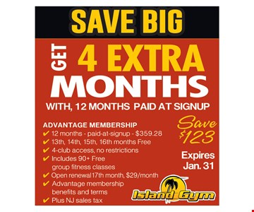 Four extra months with paid 12 months.
