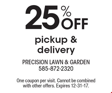 25% Off pickup & delivery. One coupon per visit. Cannot be combined with other offers. Expires 12-31-17.