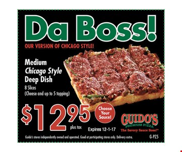 $12.95 medium Chicago style deep dish