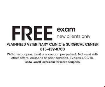 Free exam. New clients only. With this coupon. Limit one coupon per patient. Not valid with other offers, coupons or prior services. Expires 4/20/18. Go to LocalFlavor.com for more coupons.