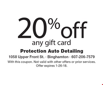 20% off any gift card. With this coupon. Not valid with other offers or prior services. Offer expires 1-26-18.