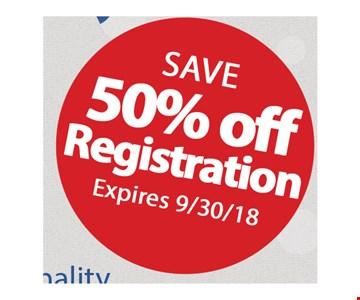 Save 50% off registration.
