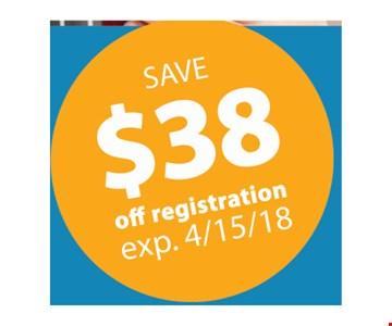 Save $38 off registration. Exp. 4-15-18.