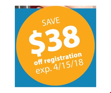Save $38 off registration