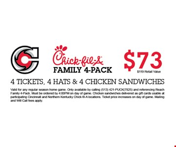 FAMILY 4-PACK  $73 - 4 TICKETS , 4 HATS & 4 CHICKEN SANDWICHES