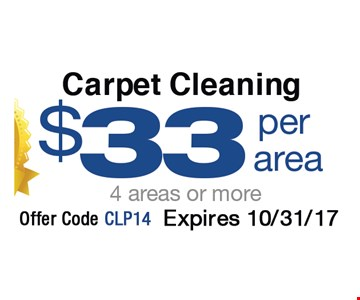 Carpet Cleaning $33 per area