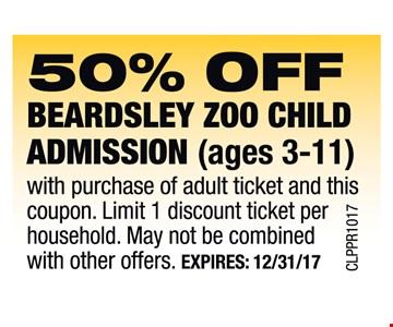 50% Off Beardsley Zoo Child Admission (ages 3-11)