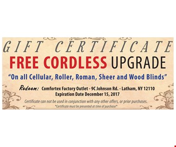 Free Cordless Upgrade on all cellular, roller, roman, sheer and wood blinds