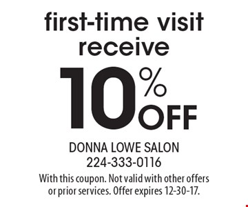 first-time visit receive 10% Off. With this coupon. Not valid with other offers or prior services. Offer expires 12-30-17.