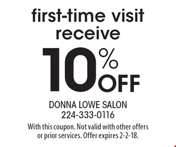 First-time visit receive 10% Off. With this coupon. Not valid with other offers or prior services. Offer expires 2-2-18.