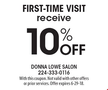 10% Off first-time visit. With this coupon. Not valid with other offers or prior services. Offer expires 6-29-18.
