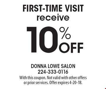 10% off first-time visit receive. With this coupon. Not valid with other offers or prior services. Offer expires 4-20-18.