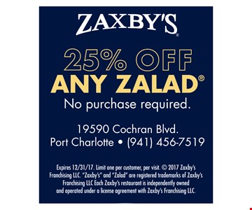 25% off any Zalad. Expires 12/31/17.