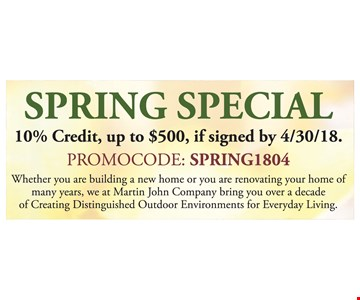 10% credit, up to $500 if signed by 4/30/18
