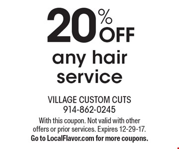 20% off any hair service. With this coupon. Not valid with other  offers or prior services. Expires 12-29-17. Go to LocalFlavor.com for more coupons.
