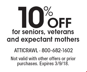 10% off for seniors, veterans and expectant mothers. Not valid with other offers or prior purchases. Expires 3/9/18.