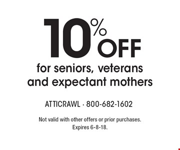 10% off for seniors, veterans and expectant mothers. Not valid with other offers or prior purchases. Expires 6-8-18.