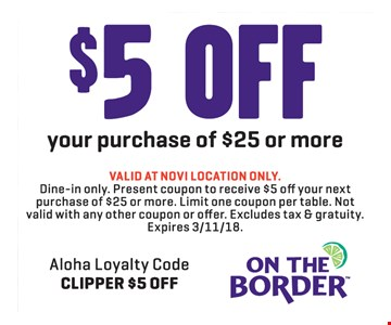 $5 off your $25 purchase.