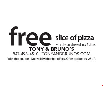 Free slice of pizza with the purchase of any 2 slices. With this coupon. Not valid with other offers. Offer expires 10-27-17.
