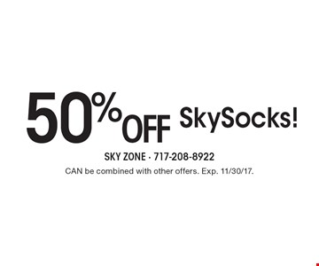 50% off SkySocks! CAN be combined with other offers. Exp. 11/30/17.