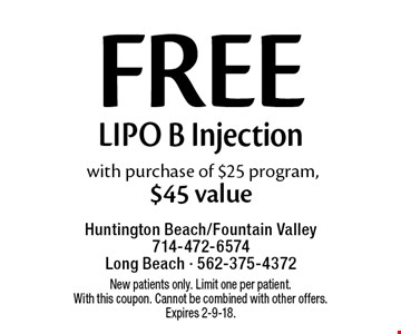 Free Lipo B Injection with purchase of $25 program, $45 value. New patients only. Limit one per patient. With this coupon. Cannot be combined with other offers. Expires 2-9-18.