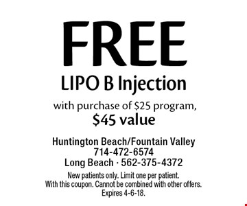 Free Lipo B Injection with purchase of $25 program, $45 value. New patients only. Limit one per patient. With this coupon. Cannot be combined with other offers. Expires 4-6-18.