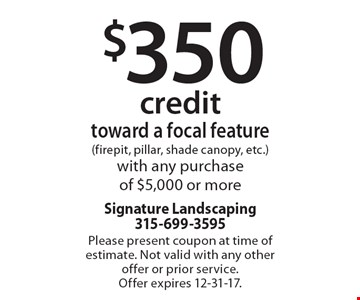 $350 credit toward a focal feature (firepit, pillar, shade canopy, etc.)with any purchase of $5,000 or more. Please present coupon at time of estimate. Not valid with any other offer or prior service. Offer expires 12-31-17.