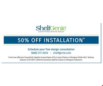 50% off installation.