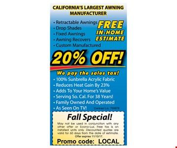 20% Off - Free in home estimate  promo code LOCAL