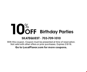 10% Off Birthday Parties. With this coupon. Coupon must be presented at time of reservation. Not valid with other offers or prior purchases. Expires 2/9/18. Go to LocalFlavor.com for more coupons.