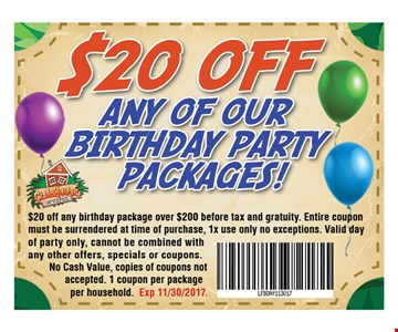 $20 off any of our birthday party package