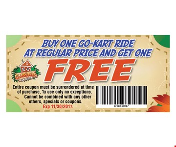 buy one go kart ride at regular price and get one FREE