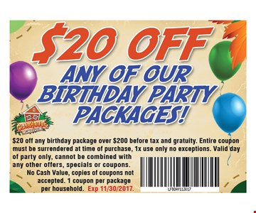 $20 Off Any of Our Birthday Party Packages!