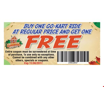 Buy One Go-Kart Ride at Regular Price and Get One Free