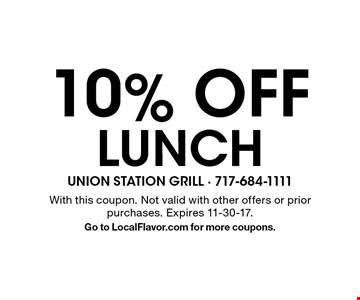 10% Off lunch. With this coupon. Not valid with other offers or prior purchases. Expires 11-30-17. Go to LocalFlavor.com for more coupons.