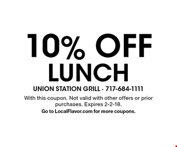 10% off lunch. With this coupon. Not valid with other offers or prior purchases. Expires 2-2-18. Go to LocalFlavor.com for more coupons.