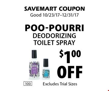$1.00 off Poo-Pourri deodorizing toilet spray. SAVEMART COUPON. Good 10/23/17-12/31/17.