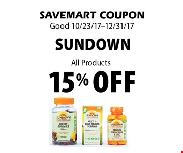 15% off sundown. All Products. SAVEMART COUPON Good 10/23/17-12/31/17