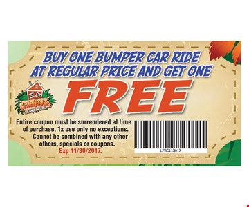 Buy One Bumper Car Ride At Regular Price and Get One Free