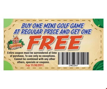 Buy One Mini Golf Game at Regular Price And Get One Free