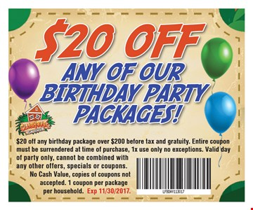 $20 Off Any of Our Birthday Party Packages