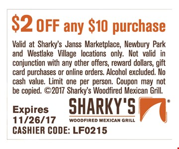 $2 off any $10 purchase.