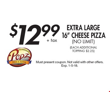 $12.99 + tax Extra Large 16